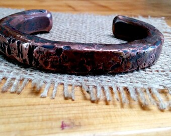 Solid Heavy Copper Cuff Bracelet.  8.5 X 14 mm Thick and Wide. 1/2 pound.
