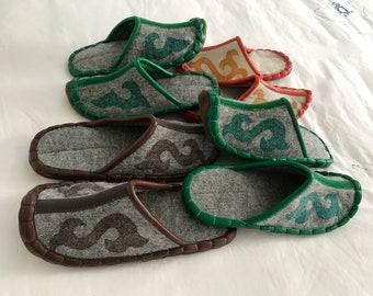handmade slippers, felt slippers, handmade felt slippers, home slippers, slippers, warm slippers