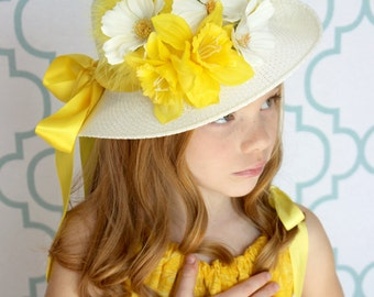 Tea Party Hat - Kentucky Derby Hat - Flower Girl Hat - Child's YELLOW Bonnet - Girls Sun Hat
