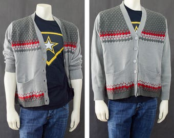 Vintage 50s Men's Cardigan Sweater, Mr Roger's Sweater, Gray Red Cardigan Pockets, Rockabilly Style, Grunge, Preppy Sweater, Men's Size 46