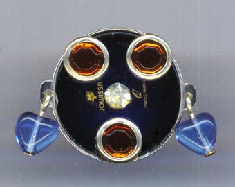 Steampunk Ring . Swiss Watch Face . Repurposed . Caramel Rhinestones . Glass Hearts - Auntie Jovissa's Watch Face by enchantedbeas on Etsy