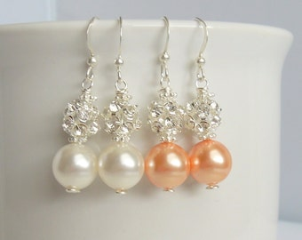 Pearl and Rhinestone Bridesmaid Earrings - Peach Pink Pearls Or Ivory Pearls and Crystals - Sterling Silver