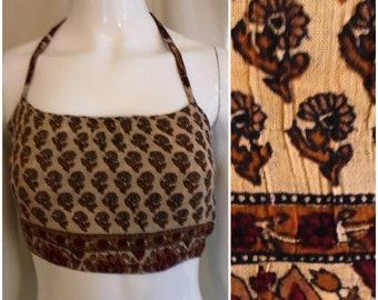 Vintage 1990s Halter Top 1970s Look Deadstock Cropped Halter Boho Brown Floral