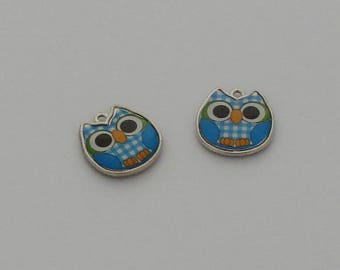 1 blue carrreaux - Ref enamel OWL pendant: PE 704