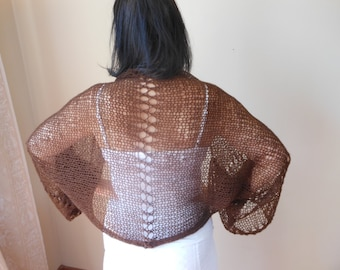 Shrug Bolero Summer Shrug Lace  Brown