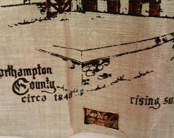 """Vintage Tea Towel Pennsylvania Dutch Barn 100% Linen NOS Made by Artist Joan L Romig 1970's Pennsylvania Dutch Farmhouse Decor 16 1/2"""" x 30"""""""