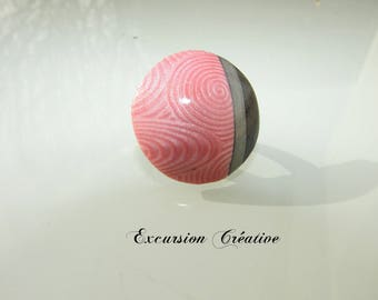 """Adjustable ring """"pink graphic silver gray and charcoal gray"""" polymer clay"""