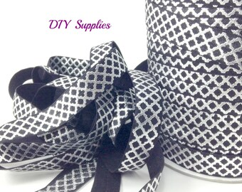5 yards 5/8 black silver metallic quatrefoil fold over elastic, FOE, Wholesale elastic, headband elastic,  elastic by the yard