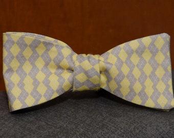 Yellow and Tan Mini Argyle  Bow Tie