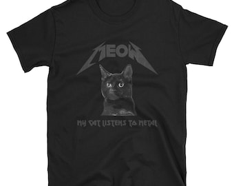 Black Cat T-Shirt: MEOW My Cat Listens To Metal