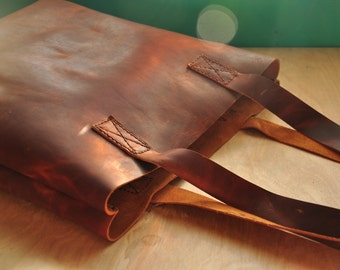 Personalised Simple Leather Tote Bag / Leather Bag / Leather Purse / Simplistic Tote / Minimalist Bag in Dark Brown Leather