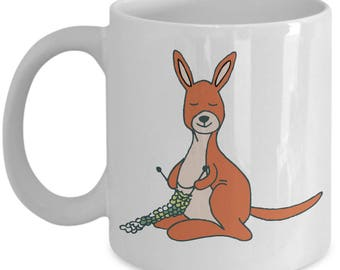 Knitting Kangaroo Mug - Gift for Knitter - Gift for Her