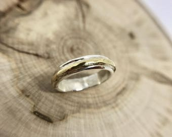 Mixed Metals Ring, Sterling Silver, Brass, Size 3 3/4