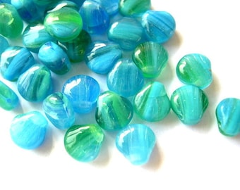 20 VINTAGE glass beads, blue green 9mmX8mm