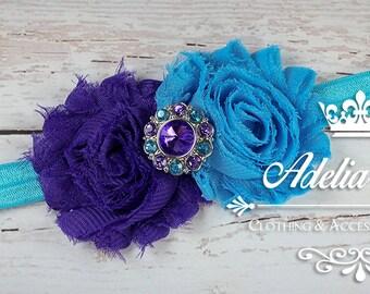 Turquoise Baby Headband, Purple Baby Headband, Baby Flower Headband, Purple Turquoise Shabby Flower Headband, Newborn Baby Girl Headband