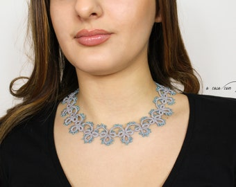 Precious tatting lace necklace in Boho chic style, beautiful and very lightweight to wear, gift for her
