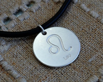 Leather Surfer Necklace With Ancient Zodiac LEO Distresed Cord Lion