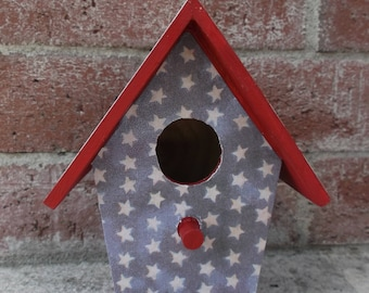 Americana birdhouse, Patriotic birdhouse, Americana decor, Patriotic decor, decoupage birdhouse