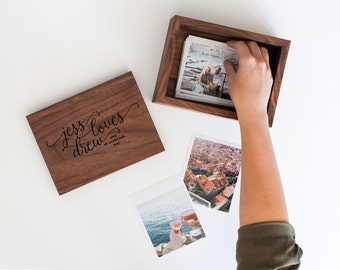 Walnut Photo Box : handmade, heirloom-quality, solid wood picture box in solid walnut with laser engraving