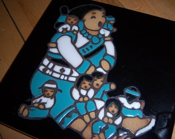 Vintage Native Art Mag Mor Studios Christine Fitzgerald Hand Painted Santa Fe New Mexico Pottery Tile Turquoise Black Wall Shelf Decor