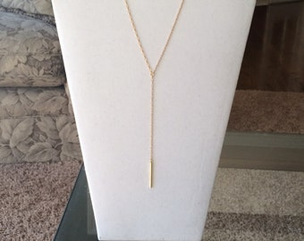 Simple Gold Y Lariat Necklace, Modern Silver Y Drop Bar Lariat Necklace, Rose Gold Lariat Necklace, Wedding Jewelry, Layering Necklace