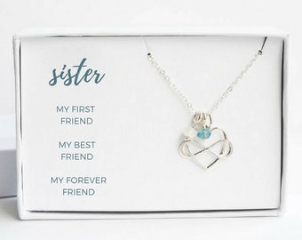 Sister Graduation Gift - Sister Birthday Gift - Silver Sisters Necklace - Custom Sister Gift - Sister Gift Idea - Sister Birthstone Jewelry