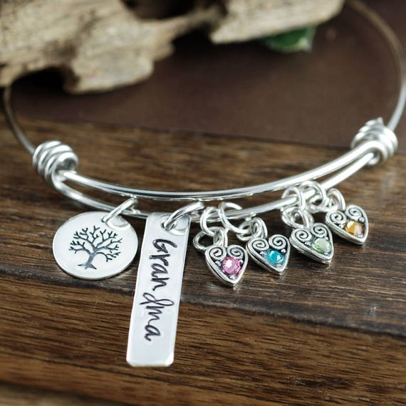 Personalized Grandma Bracelet, Family Tree Bracelet, Mother's Birthstone Bangle Bracelet , Bar Jewelry, Mother's Day Gift, Gift for Grandma