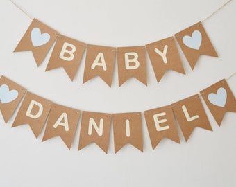 Baby Shower Decorations, Baby Boy  Bunting, Personalised Name Banner, Blue Heart, Party Decoration, Baby Boy, Baby Girl, Baby Shower Decor,
