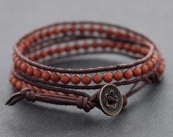 Goldstone Brown Leather Double Wrap Bracelet