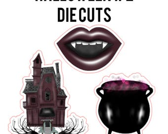 Halloween #2 Die Cuts | haunted house, cauldron, witch's brew, vampire lips