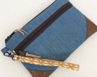 Double Zip Pouch, Wristlet, Denim and Leather Clutch, Gifts for Mom - Small