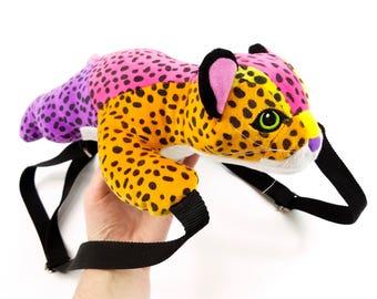 Vintage 90s Lisa Frank Plush Backpack Hunter the Leopard, Rainbow Stuffed Animal Bag