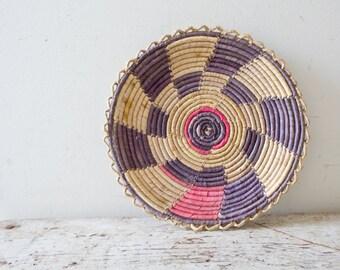 Woven African Vintage Basket Plate - Purple - Wicker Woven Wooden Natural Orange Brown Tan Basket Fruit Basket Container