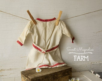 Antique 1800's Doll Dress - Flour Sack - Turkey Red Trim - MOP buttons - Prairie Farmhouse Chic
