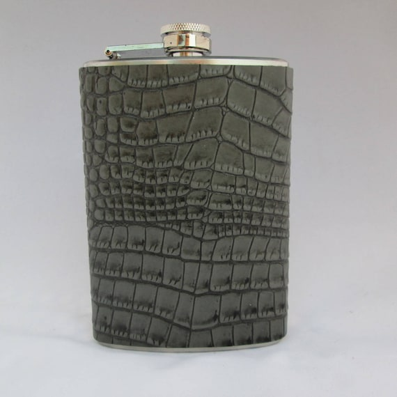 Every Day Collection Flask in Grey Crocodile