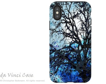 Blue Tree Abstract - Artistic iPhone X Tough Case - Dual Layer Protection for Apple iPhone 10 - Moonlit Night by Da Vinci Case