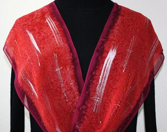 Silk Scarf Hand Painted Red Crimson Burgundy Chiffon Shawl STRAWBERRY GARDEN, in Several SIZES. Mother Gift Bridesmaid Gift Christmas Gift