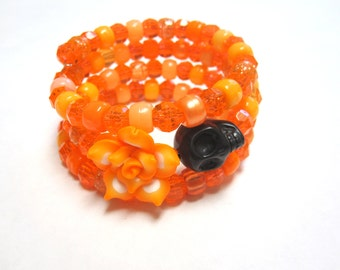 Orange Day of the Dead Bracelet Sugar Skull Jewelry Wrap Bracelet Black