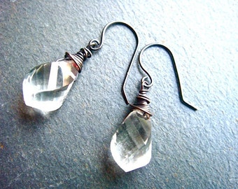 Crystal Twist Earrings No. 1- oxidized sterling silver and crystal quartz