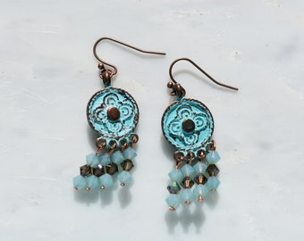 Chandelier Earrings Patina-look Greek Medallions with Pacific Opal Swarovski crystals