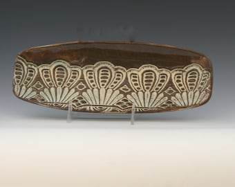 """12"""" X 4 1/2"""" Handmade Stoneware Ceramic Serving Platter in Shades of Brown and white with hints of metallic green/Ceramics and Pottery"""
