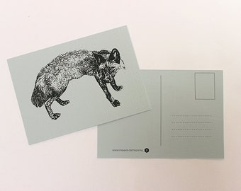 Map Fox, greeting card, postcard, postcard