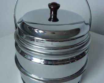 Vintage Art Deco Style Chrome Ice Barrel Bucket  Bakelite Handle
