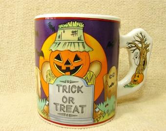 Vintage Halloween Mug Coffee Tea Cup Jack O Lantern Pumpkin Ghost Trick Or Treat