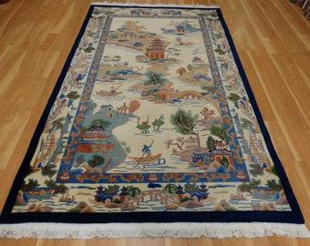 Chinese Rug 5' 1 x 8' 6 Cream Wool Carpet