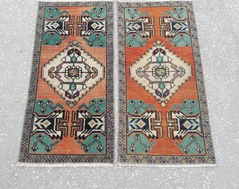 "Doormat Rugs Mat Rugs Small Oushak Rugs Vintage Area Rugs Small Size Turkish Rugs Bathroom Kitchen Rugs 1'5"" x 3'1"" Feet Free Shipping !"