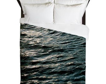 Duvet Cover, Blue, Ocean Waves, Ocean Decor, Beach House Decor, Cottage Chic, Surf Decor, Nautical Bedding, Gifts for Him, Gifts for Her