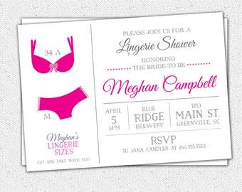 Lingerie Bridal Shower Bachelorette Invitation, Custom Color Printable or Printed