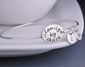 Family By Choice Bracelet, Adoption Bracelet, Mother's Day Gift Adoption Bangle Jewelry with Personalized Initials