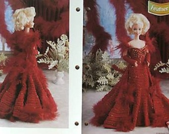 Crochet Barbie Fashion Doll Pattern FEATHER FANTASY Gown w/ Train